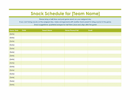 Team Snack Schedule Template Snack Sign Up Sheet For Sports Team Snack Sign Up Sheets