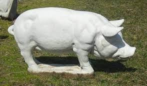 large pig concrete garden statue at