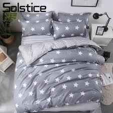 solstice home textile star stripe gray duvet cover pillowcase sheet kid teen bedding set boy girl