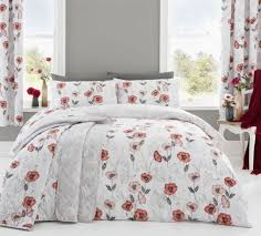 sketched style fl poppies red white double duvet cover