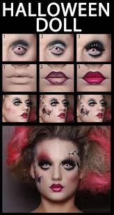 halloween makeup concept of scary doll halloween costume