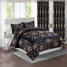 black bedding set and matching curtains