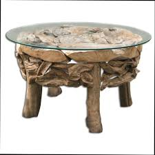 round rustic coffee table with glass top