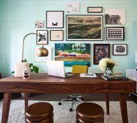 home office dark blue gallery wall. modern art gallery wall home office midcentury with dark wood desk blue e