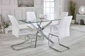 modern metal furniture. Leonardo Glass And Chrome Metal Dining Table 4 White Lorenzo Chairs Modern Furniture I