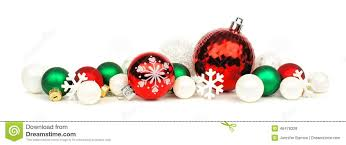 Christmas Ornaments Border Red Green And White Christmas Ornament Border Stock Photo