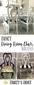 glazed dining room chairs tracey s fancy chair makeover black and white upholstery makeover