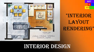 2d interior design. 35: Manual Rendering | 2D Interior Design Layout Tutorial Demo Watercolour Techniques - YouTube 2d