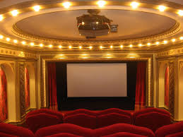 theatre room lighting. Amusing Design Of The Home Theater Ideas With Rounded Ceiling Lamp And Red Fabric Seat Theatre Room Lighting