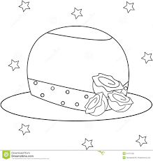 Girls Hat With Roses Coloring Page Stock Illustration
