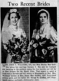 Wedding photo, Shirley Mae Griffith to John Williams, Jan 5, 1938 -  Newspapers.com
