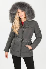 Grey Belted Quilted Puffer Jacket With Faux Fur &  Adamdwight.com
