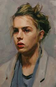 lotti louis smith oil on canvas blonde female head woman face portrait cropped painting