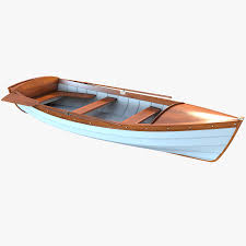 dinghy wooden boat royalty free 3d model preview no 1