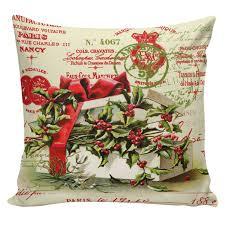 Elliott Heath Designs Christmas Pillow Vintage Holiday French Style Burlap Cotton