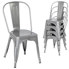 modern metal dining chairs. Wonderful Dining Best Choice Products Set Of 4 Stacking Modern Industrial Metal Dining Chairs  Silver With T