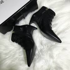 nine west pointy toe booties black leather