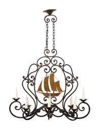 french iron chandelier with sailboat 8 lights