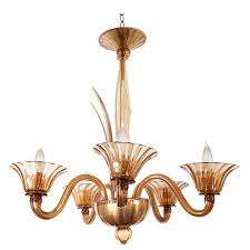 mid century chandelier in amber murano glass for