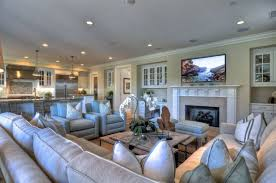 traditional living room ideas. Stylish Recessed Lighting With Exclusive Sofa Set For Traditional Living Room Ideas Modern TV And Charming White Fireplace
