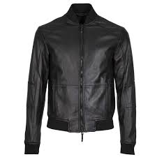 armani exchange black leather er jacket