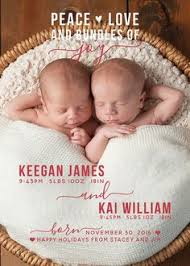 Modern Twin Christmas Birth Announcement Holiday Birth