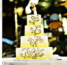 Yellow stripes and a brown swirl design jazzed up the four-tiered cake. A  miniature clay version of the … | Elegant cake design, Real weddings  photos, Real weddings