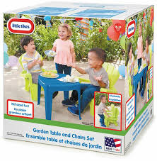 little tikes garden table and chairs set blue green for