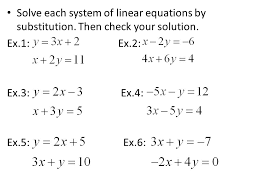 solve each system of linear equations by substitution
