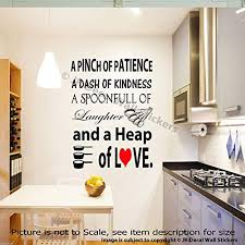 a pinch of patience a dash of kindness kitchen vinyl wall decals home decor stickers on kitchen wall art amazon uk with a pinch of patience a dash of kindness kitchen vinyl wall decals