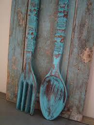 large wooden spoon and fork wall decor turquoise spoon fork wooden wall decor in kitchen large