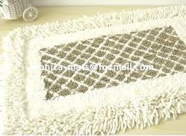 loop bath rugs non slip chenille cotton white