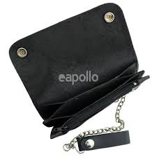 mens leather biker wallet with chain black