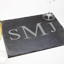 monogram slate cheese board