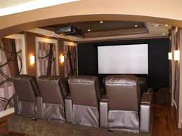neutral home theater with brown seats