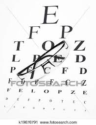 Reading Glasses With Eye Chart Stock Image K19676791