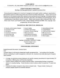 Equity Research Resume Sample