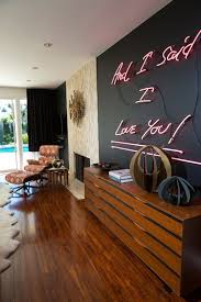Contemporary Living Room Design with Neon Light Sign for Room, Red Neon  Light Colors,