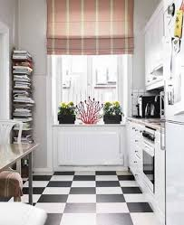 Checkerboard Kitchen Floor Tiny Kitchen With Retro Decor Also White L Shaped Cabinets And