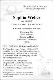 Traueranzeigen von Sophia Weber | www.westfalen-blatt.de