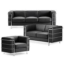 Grand Comfort Sofa inspired by Le Corbusier in Black Leather ...