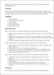 Resume Templates: Payroll Analyst