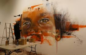 adnate painting straight onto the benalla art gallery wall