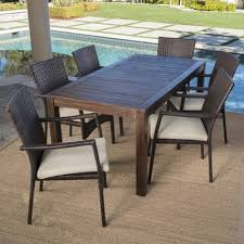 outdoor wood dining furniture. Charlton Home Outdoor Wood Wicker Dining Set Cushions Avenir Furniture