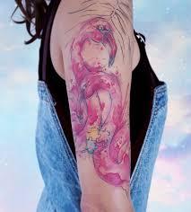 фламинго тату татуировка акварель графика стиль розовый розовые