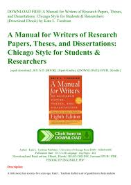 Download Free A Manual For Writers Of Research Papers Theses And Dissertations Chicago Style For S