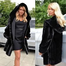 uk stock women faux fur parka jacket winter warm hooded hoo coat outwear top