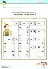 Mathematical Puzzle Game Math Worksheets Free For Kindergarten ...