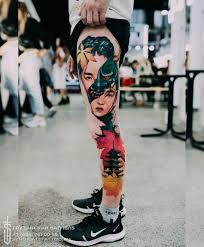 татуировка маска хання от студии Syndicate Tattoo мастер Alina Vax
