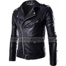 mens slim fit zip up black faux leather moto jacket zoom mens